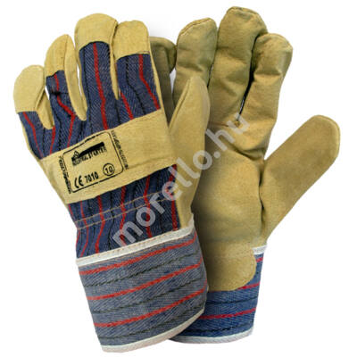 PIG LEATHER AND CANVAS GLOVES