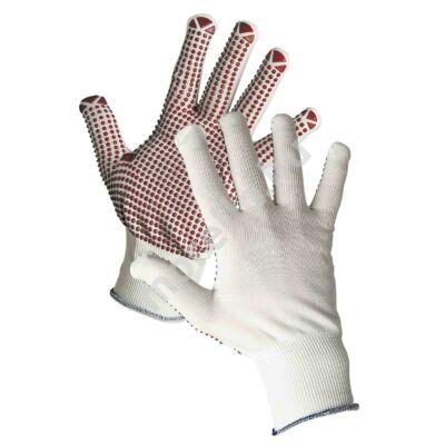 GANNET Kötött, varratmentes nylon kesztyű PVC-vel pontozott tenyérrel és ujjakkal