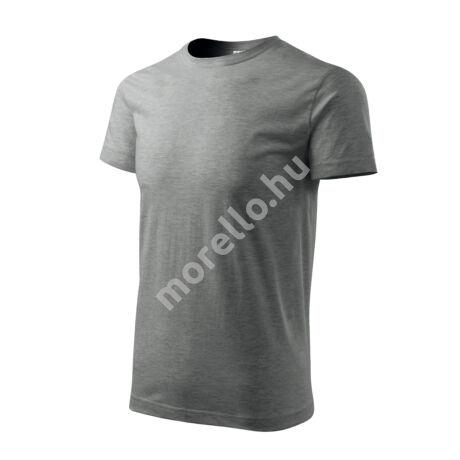 Basic pólók férfi sötétszürke melírozott 2XL