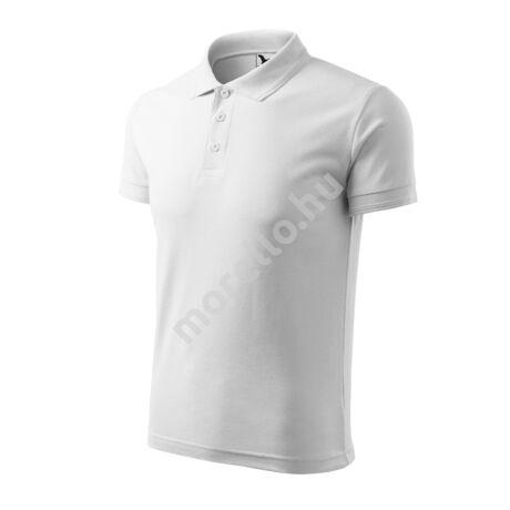 Pique Polo galléros póló férfi fehér 4XL