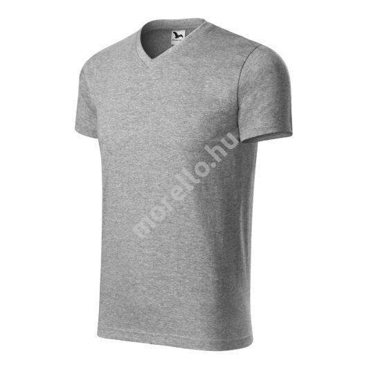 Heavy V-neck póló unisex sötétszürke melírozott S