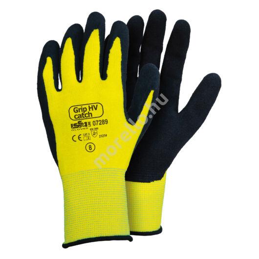 Grip Hv Catch latexba mártott nylon munkavédelmi kesztyű jól-láthatósági sárga