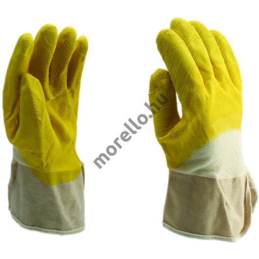 7021Vágásbiztos kesztyű sárga latex mártással vitorlavászon mandzsettával