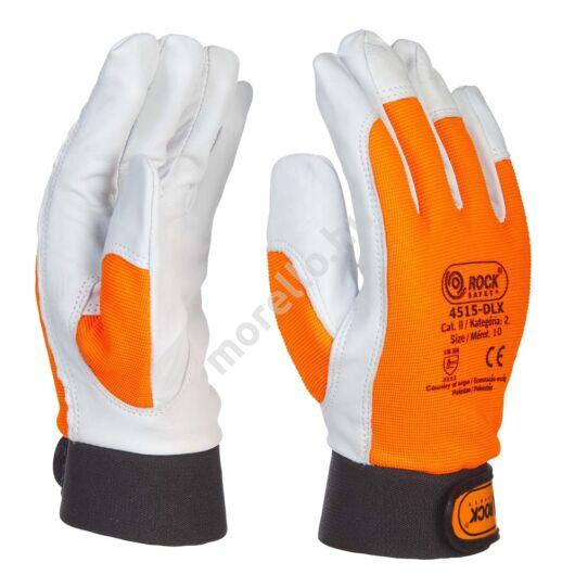 Kecske színbőr kesztyű, jól láthatósági narancssárga kézháttal, tépőzárral