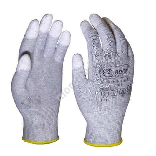 PU ujjvégen mártott kesztyű, karbonszálas,gazdaságos változat
