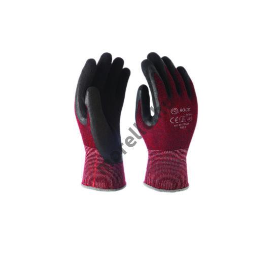Pamut/spandex piros kötött kesztyű, fekete hab latex mártással a tenyéren, 13-as tűfinomságú