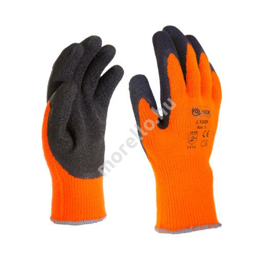 Kötött téli kesztyű, narancssárga, fekete latex mártással, akril/lycra alapanyagból