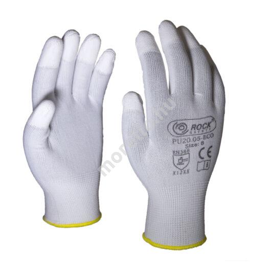 PU ujjvégen mártott poliészter kesztyű, fehér,ECO változat