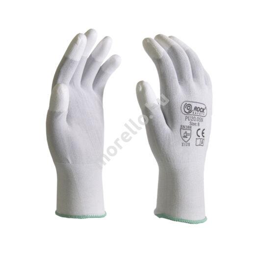 Fehér, PU ujjvégmártott nylon szerelőkesztyű,18G, PRÉMIUM minőség