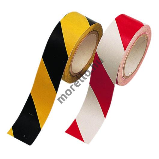 Öntapadós jelzőszalag, piros-fehér és sárga-fekete színben